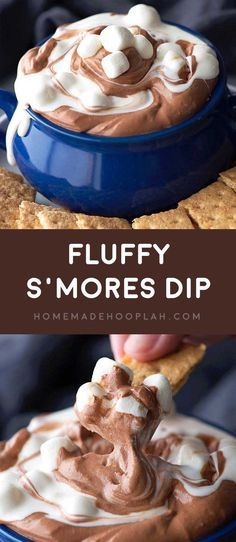 Fluffy S'mores Dip! Fluffy marshmallow and chocolate dips are swirled together to make this easy and fun chilled party dip. No heating or melting required!   http://HomemadeHooplah.com