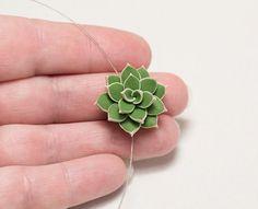 Green succulent necklace. Minimalist от JewelleryForWorld на Etsy