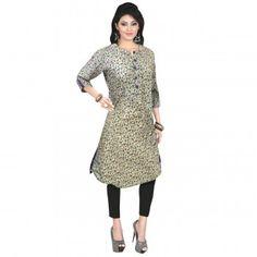 Kurtis - Buy Designer Kurti Online For Women Off - IndiaRush Girls Kurti, Ethnic Kurti, Absolutely Gorgeous, Printed Cotton, High Neck Dress, Dresses For Work, Tunic Tops, Indian, How To Wear