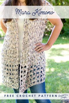 Easy Crochet Kimono Pattern by Rescued Paw Designs - Make this simple & FREE crocheted Pattern for a Kimono Today! Free Form Crochet, Easy Crochet Shrug, Crochet Scarves, Crochet Shawl, Crochet Clothes, Crochet Sweaters, Crochet Shrugs, Crochet Blouse, Crochet Tops