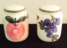 Ceramic Salt and Pepper Shakers Set Fruit Apple Pear Grapes BNIB