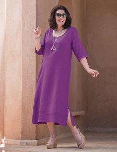 Kasbah+amethyst+or+navy+linen+pintuck+dress