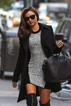 Miranda Kerr in Alexander Wang Dress and Hermes knee-high boots2