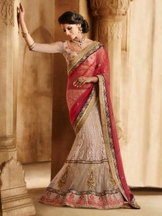 Red And Cream Net Lehenga Saree With Embroidery And Thread Work (With Santone Inner) www.saree.com