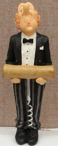 Stylish and Whimsical Butler Figuring holding a Cork Screw Opener.  The figurine measures 9 inches and made out of resin.  Hand-painted