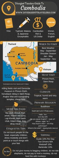 Cambodia is a Southeast Asian nation whose landscape spans low-lying plains, the Mekong Delta, mountains and Gulf of Thailand coastline. Phnom Penh, its capital, is home to the art deco Central Market, glittering Royal Palace and the National Museum's historical and archaeological exhibits. In the country's northwest are the ruins of Angkor Wat, a massive stone temple complex built during the Khmer Empire.  #Travel #BucketListTravels #Cambodia #Vacation