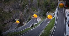 Bing Images - San Boldo Pass - Hairpin bends in the tunnels climbing toward San Boldo pass, Treviso district, Veneto, Italy -- SIME/eStock Photo