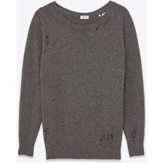 Saint Laurent Oversized Grunge Crewneck Sweater (€1.660) ❤ liked on Polyvore featuring tops, sweaters, oversized sweaters, crew neck sweaters, loose fitting sweaters, over sized sweaters and loose fitting tops