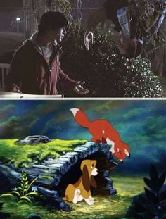 THIS IS SO PERFECT IT'S SCARY! Fox and the Hound= Teen Wolf now!