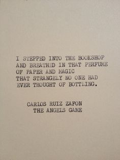 THE ANGELS GAME Typewriter quote on 5x7 cardstock by WritersWire, $5.00