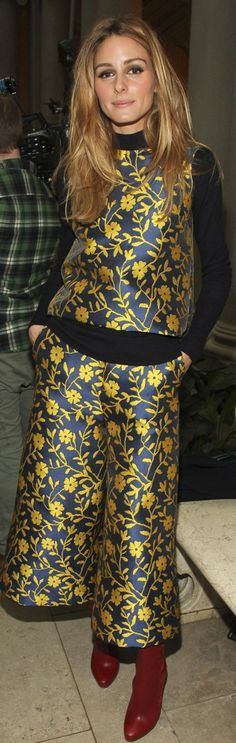 Who made Olivia Palermo's yellow floral print top, pants, and...