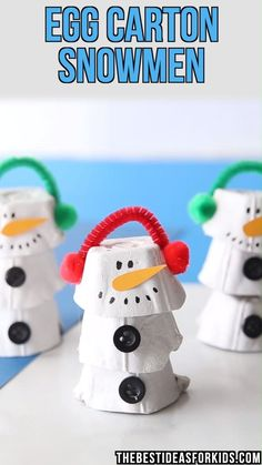 EGG CARTON SNOWMAN ⛄- so cute! This easy snowman craft is adorable to make! And it uses egg cartons. This egg carton snowman is really easy and fun to make! Make one or a few and turn it into a winter play scene with cotton balls too. Preschool Christmas, Christmas Crafts For Kids, Christmas Projects, Simple Christmas, Holiday Crafts, Christmas Diy, Preschool Winter, Toddler Crafts, Preschool Crafts