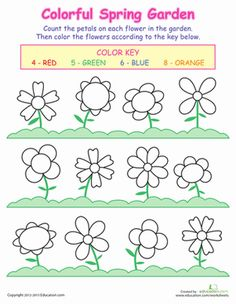 Colors Numbers Spring Flowers Worksheet, better for the 4 and up kids