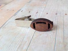 Wood Football Tie Clip, Football Gift, Mens Tie Bar, Novelty Tie Clip, Football Fan by DyNaModuo on Etsy