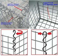 Details of construction of gabion cages. Gabion Retaining Wall, Retaining Wall Design, Landscaping Retaining Walls, Fence Design, Backyard Landscaping, Garden Design, Landscaping Ideas, Gabion Cages, Gabion Baskets