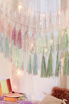 Slide View: 1: Studio Mucci Unicorn Snow Tassel Garland