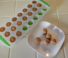 Shelly's Frozen Protein Yogurt (or Pudding) Drops  1/2 cup Greek Yogurt (or Sugar Free Pudding) 3-4 Tablespoons (to taste) of any Protein Powder Mix until combined and freeze in a ice cube tray or make drops on a cookie sheet lined with wax paper.  Makes about 25 drops.  Eat for a small frozen treat or add to smoothie