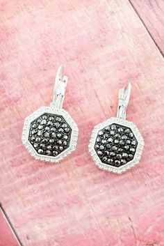 Hematite Rhinestone and Worn Silvertone Earrings #YJE2600-WSHT