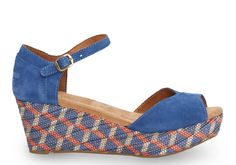 Day dreaming about warmer days and cute platform sandals!  Blue Suede Woven Women's Platform Wedge