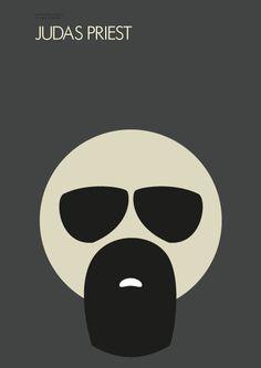 Judas Priest - Minimalistic Poster - Pete Alander 2012 - http://bandmill.net/blog/portfolio-items/minimalism-heavy-metal-posters/