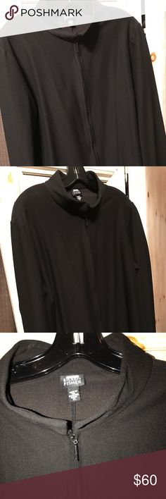 Eileen Fisher Black stretch crêpe zip front jacket You love Eileen Fisher black stretch crêpe washable crêpe clothes you're going to love this jacket it's very cute it's a a long sleeve zip front standup collar jacket it's kind of form fitted very attractive on comfortable and fun to wear in all occasions size extra-large Eileen Fisher Jackets & Coats Blazers