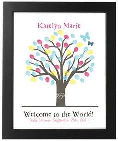 Personalized  25 Signature / Thumbprint Baby by ForKeepsDesigns, $32.00 OMG how cute!? Could mimic guest book for wedding except this can go in baby's room and matches blue colors :)