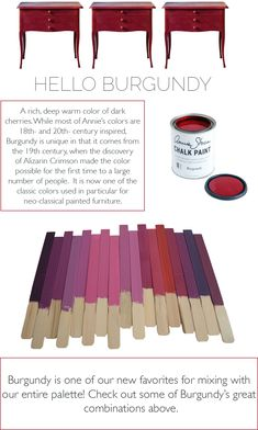 Lovely color mixes made with Burgundy in Chalk Paint® by Annie Sloan.