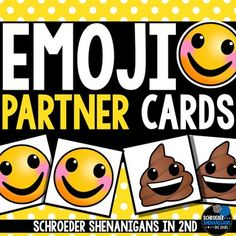 Looking for a way to get your kiddos EXCITED about choosing a partner and - as I like to say - {on repeat} GETTING STARTED RIGHT AWAY?! These emoji style partner cards will have your students finding their match/partner in no time. Pass out the emoji cards to your class.