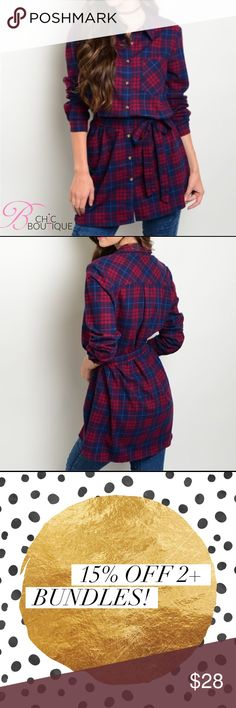 """Long Sleeve Plaid Button Down Top Long sleeve button down plaid shirt with self tie belt. Made of 100% cotton.  Measurements for small: L: 36"""" B: 38"""" W: 40"""" Bchic Tops Button Down Shirts"""