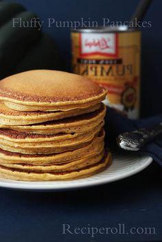 Fluffy Pumpkin Pancakes | Fall Halloween Recipes ~•   2 cups flour     •   3 tsp. baking powder     •   2 tbs  sugar     •   1/2 tsp salt     •   1/2 tsp pumpkin pie spice     •   1/4 tsp cinnamon powder     •   2 eggs     •   2 cups milk     •   1/3 cup vegetable oil     •   3/4 cup pumpkin puree