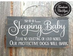 baby sleeping sign, baby shower gift, baby signs, do not ring doorbell, do not knock Diy Baby Gifts, Baby Shower Gifts, Baby Sleeping Sign, Sleeping Bag, Protective Dogs, Baby Sleep Schedule, Distressed Wood Signs, Ring Doorbell, Sympathy Gifts