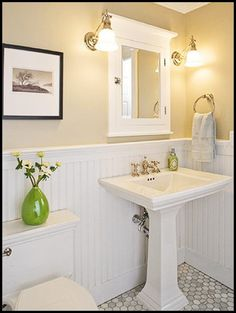 Small half bath-- love the colors and how bright it looks - maybe with a different color wall