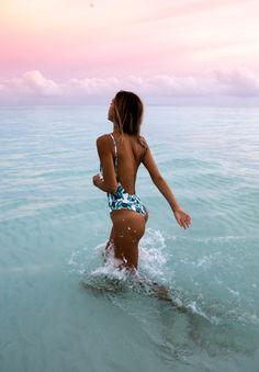 Alexis Ren in the Sahara Ray Bahamas One Piece (PALM) $ 210.00