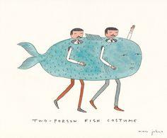 two-person fish costume