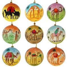 Set of 9 Camel Dessert Paper Mache Christmas Ornaments Handmade in Kashmir, India ShalinIndia http://www.amazon.co.uk/dp/B00KFD8ZRC/ref=cm_sw_r_pi_dp_F0TCub1E6DVJ4