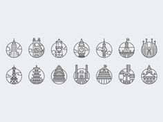 Commissioned by Offscreen Magazine for their fifth issue feature A Web Workers Field Guide, this collection of icons depicts a well known building or ideogram from 14 cities around the world. // by Adam Whitcroft