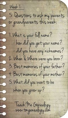 Teach Me Genealogy: 5 Questions To Ask Your Parents or Grandparents Th...