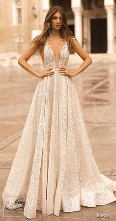 Ball gown sparkly wedding dress sleeveless deep v neckline princess See more gorgeous wedding dresses by clicking on the photo wedding food BERTA Wedding Dresses Fall 2019 - Athens Bridal Collection Gorgeous Wedding Dress, Bridal Wedding Dresses, Dream Wedding Dresses, Designer Wedding Dresses, Berta Bridal, Prom Dresses, Cocktail Wedding Dress, Wedding Dress Sparkle, Reception Dresses