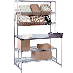 Organize your stock into convenient and easily accessible areas with the Metro SWHPS2460 amenity pick station! Thanks to its two slanted shelves, two under-counter shelves, and a stainless steel countertop, this pick station is a great addition to any business, including distribution centers, hotels, bars, and quick service restaurants. <br><br>This amenity pick station features embossed shelves to allow for constant air circulation, protecting boxes and products from excessive mo...