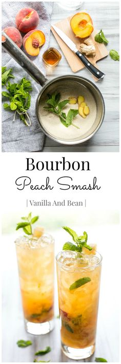 Bourbon Peach Smash - A thirst quenching Summertime cocktail! Bourbon, peach, mint and ginger come together to create a flavor packed sipper. Yummy Drinks, Bar Drinks, Non Alcoholic Drinks, Refreshing Drinks, Cocktail Drinks, Cocktail Recipes, Beverages, Bourbon Smash, Whiskey Smash