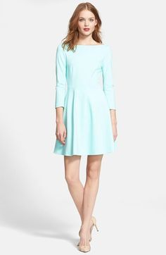 Kate Spade New York 'Selma' fit & flare dress at Nordstrom.com. | Precise seaming sculpts the bateau-neck bodice of a three-quarter-sleeve dress, offering a counterpoint to the kicky flared skirt. WANT! Can't afford. :-/