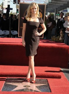 Reese Witherspoon in Dolce & Gabbana receiving her Star on the Hollywood Walk of Fame 2010