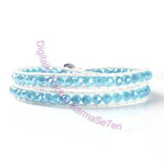 White Leather Wrap Bracelet by Karma Se7en. Baby Blue crystal beads. Cute Jewellery & friendship bracelet.