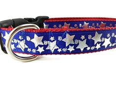 """Blue Stars Dog Collar Caninedesign 4th of July 1 inch wide adjustable nylon medium and large (Medium 13-19"""")"""
