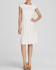 Anne Klein Dress - Cap Sleeve Sheer Stripe Fit and Flare