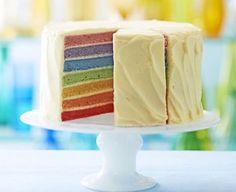 How to make our rainbow cake: Frequently asked questions . Sarah Cook provides extra tips for creating the perfect finish to her show-stopping rainbow cake Cake Recipes Bbc, Bbc Good Food Recipes, Kid Recipes, Recipies, Rainbow Fruit, Rainbow Cakes, Turnip Cake, How To Make Icing, Sugar Icing