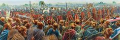 Romans advance against a Germanic Shield Wall, 1st Century AD. Artwork by Peter Dennis.