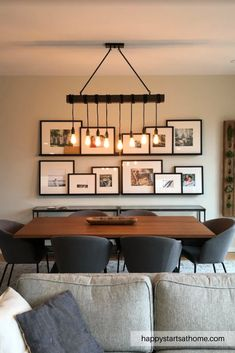 """"" Dining room gallery wall """" Instead of one giant piece of art, we added a gallery wall to this dining room. The gallery wall brings life to the room not only by adding fantastic texture, but also by displaying all the memories. Dining Room Wall Decor, Dining Room Design, Dining Room Picture Wall, Kitchen Dining Rooms, Modern Dining Room Furniture, Dinning Room Ideas, Modern Dining Room Lighting, Dining Room Console, Kitchen Decor"