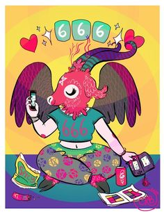 Number of the Teenage Beast , an art print by caitlin rose boyle