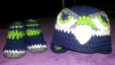 Newborn Seahawk inspired beanie and booties.   Contact me for custom orders.